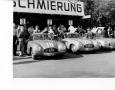 The Mercedes racing fleet awaits in the Mercedes Box at the Grand Prix of Bern 1952.