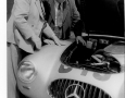 Chairman Faroux and Alfred Neubauer.1952 Mercedes-Benz 300 SL W194 air-break is examined.