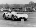 Grand Prix of England 1954.  Fangio's front end was damaged by the approaching inside track tin cans. The aerodynamic body of the Mercedes Race Car was simply not suitable for this course.