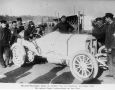 Mercedes race car, winner at the Grand Prix of the Frankish kingdom at Dieppe 1908. The winner Lautenschlager before you start.