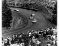 1000 KM race at Nurburgring in 1957. Four competitors  battle through a curve.
