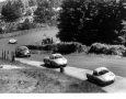 A classic is put on at the 1000 KM Race at Nurburgring in 1957. Porsche Spyder RS is in front, followed by the Alfa Romeo Sprint Veloce (Guilletta) followed by No. 46, Reis, and number 43, the Swede Lindberg. Lindberg set the fastest round.