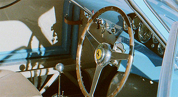 Preserved vintage Ferrari dashboard and steering column