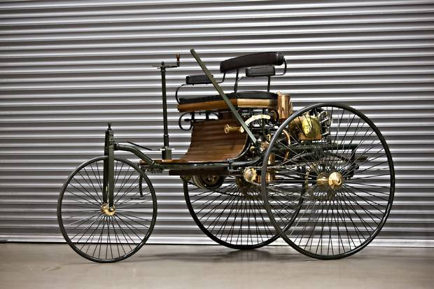 1886 BENZ PATENT-MOTORWAGEN REPLICA Gooding and Company, Aug. 15-16 Estimate: $90,000-$120,000, no reserve Every worthwhile collection needs the first car propelled by an internal combustion engine, Gooding posits, but with the original 1886 Benz Patent-Wagen housed at Munich's Deutsches Museum, a replica must do. John Bentley Engineering in Yorkshire, England, reportedly made 300 such three-wheelers, shipping this one to renowned Japanese collector Yoshiho Matsuda in 1990. Another sold for $40,950 in 2009. (Brian Henniker/Gooding & Company)