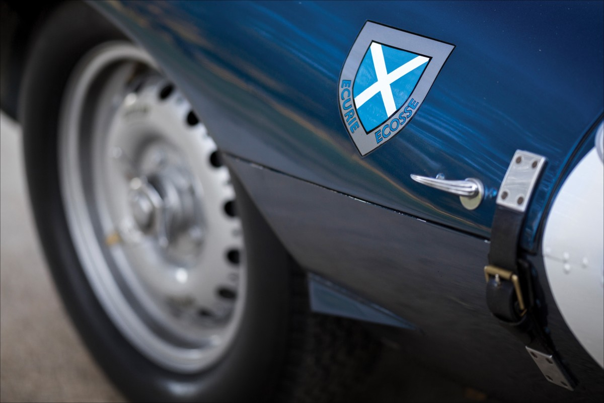 ABOVE: Ecurie Ecosse cars wore Flag Metallic Blue paint, and a team logo incorporating the St. Andrews cross. Photo by Patrick Emzen © 2016 and courtesy RM Sotheby's.