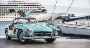 This Mercedes 300SL Gullwing is a cyan-coloured bird of paradise