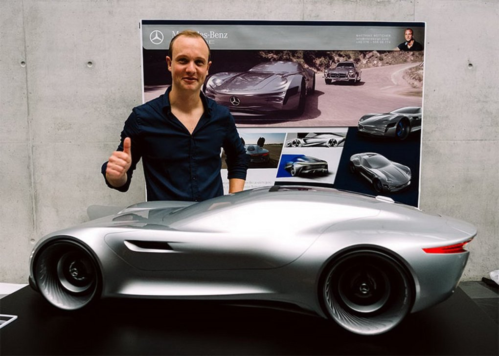 Industrial designer Matthias Böttcher with his Mercedes-Benz concept vehicle
