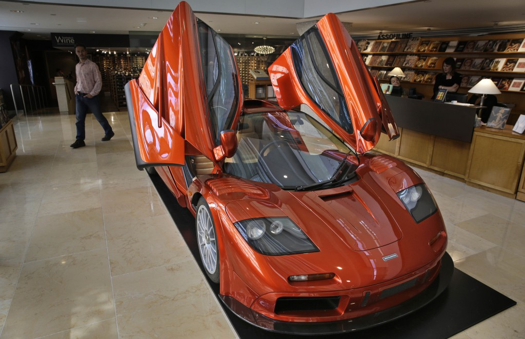A McLaren F1, whose estimated value is US$12-million, is displayed at Sotheby's in New York. This car, along with approximately 30 others, will be auctioned off by Sotheby's in California in August. Seth Wenig, AP Photo