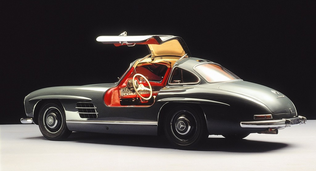 The Mercedes-Benz 300 SL Gullwing (model series W198 made from 1954 to 1957).