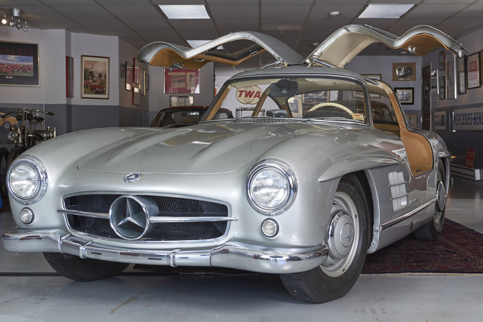 Inside the garage of Cooper Weeks—a 75-year-old retired TWA airline captain—sits his Mercedes 300 SL Gullwing. When it first appeared, it was the fastest production car in existence—about 160 mph top speed. Jason Tracy for The Wall Street Journal