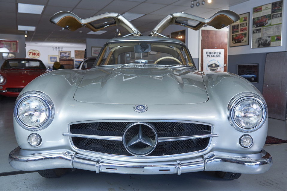 Another view of the car. The silver paint is classic Mercedes-Benz, harking back to the days before World War II, when German cars raced without any paint on them to save weight. Jason Tracy for The Wall Street Journal