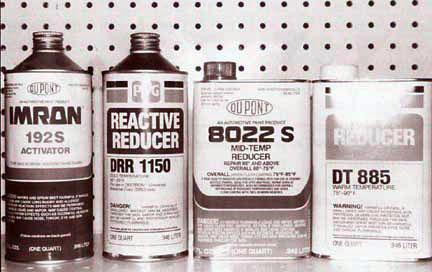 Various types of pre-paint sealers and reactive reducers