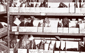 Shop shelves of organized and labeled parts
