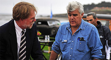 Jay Leno consulting with Scott Grundfor