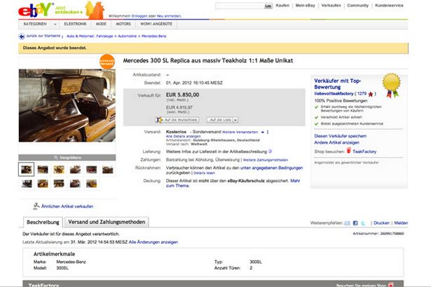 One careful owner, no miles: eBay listing exceeded reserve price to sell